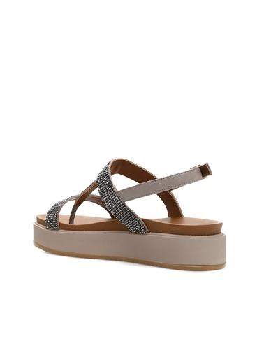 Divarese Divarese 5023005 Taş Işlemeli Kadın Sandalet Gri